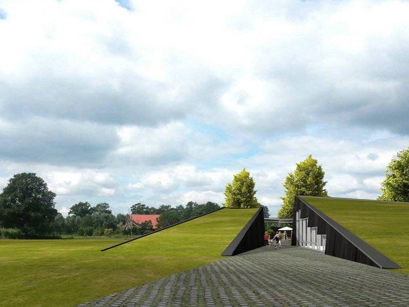 IBOC eco groepsverblijf groendak in landschap Gerrit Jan ter Horst