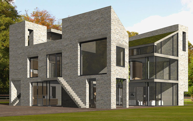 IBOC modern landgoed in bos kubistisch kasteelmuur Gerrit Jan ter Horst Zoowonen