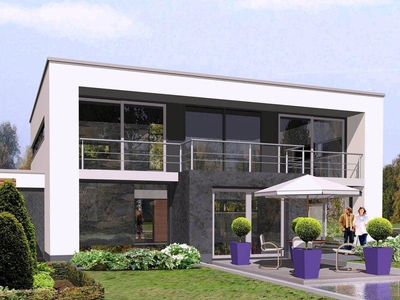 IBOC modern kubistisch villa wit gestuct platdak Gerrit Jan ter Horst