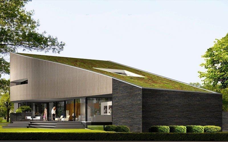 IBOC modern villa groendak golvende gevels wit gestuct Gerrit Jan ter Horst