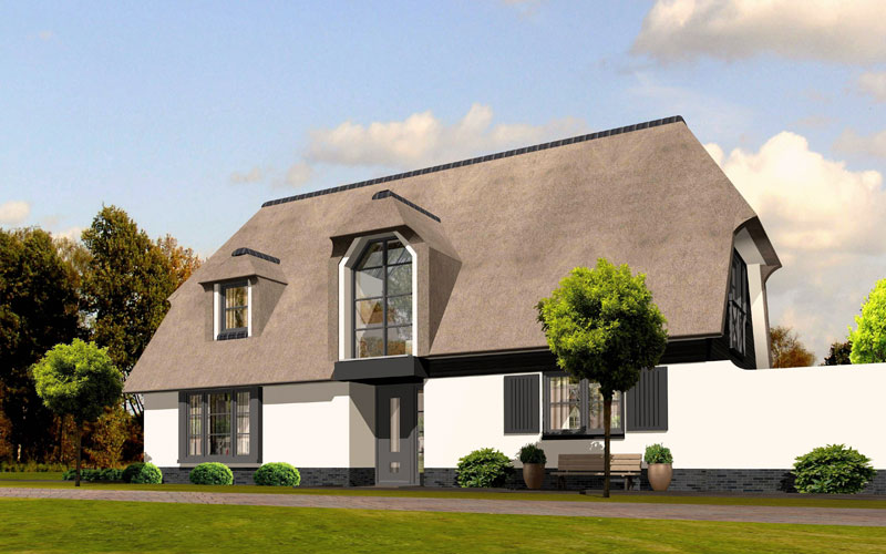 IBOC modern wit landhuis rieten dak zwarte planken schuur Gerrit Jan ter Horst
