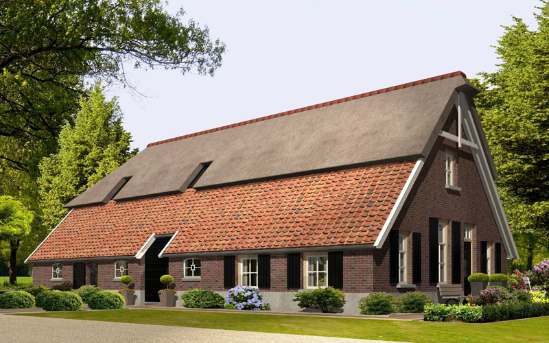 IBOC woonboerderij met deeldeuren rieten dak rode pannen traditioneel Gerrit Jan ter Horst